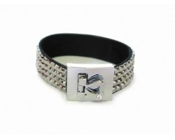 Black Diamond Crystal Strap Bracelet With Silver Heart Clasp