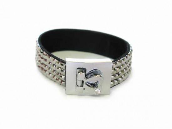 Black Diamond Crystal Strap Bracelet With Silver Heart Clasp