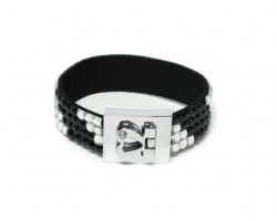 Clear and Jet Black Crystal Strap Bracelet With Silver Heart Clasp