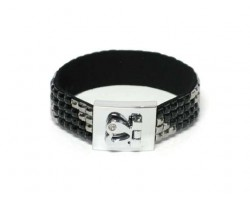 Hematite and Jet Black Crystal Strap Bracelet With Silver Heart Clasp