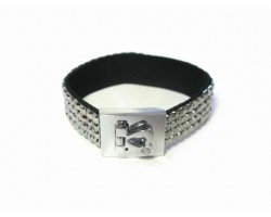 Hematite Crystal Strap Bracelet With Silver Heart Clasp