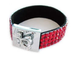 Light Siam Crystal Strap Bracelet With Silver Heart Clasp