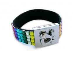 Multi-Colored Crystal Strap Bracelet With Silver Heart Clasp