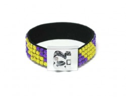 Purple And Gold Crystal Strap Bracelet With Silver Heart Clasp