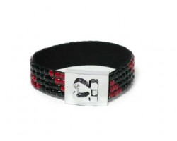 Red and Jet Black Crystal Strap Bracelet With Silver Heart Clasp