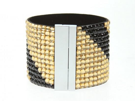 Black Gold Crystal Magnetic Strap Bracelet