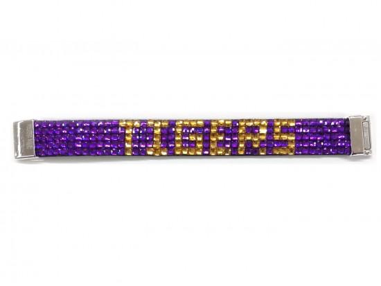 Purple Gold Tigers Crystal Magnetic Strap Bracelet