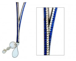 Blue And Clear Crystal Lanyard for ID Tags or Eye Glasses