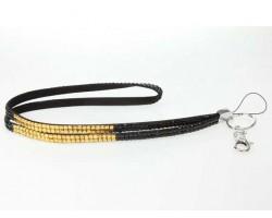 Black and LCT Strip Crystal Lanyard ID Tag Eyeglasses