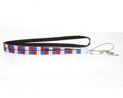 Checker USA Flag Crystal Lanyard for ID Tags or Eye Glasses