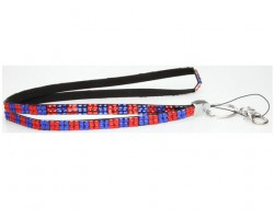 Checker Blue Orange Crystal Lanyard for ID Tags or Eye Glasses