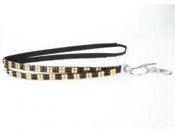 Checker Black Gold Crystal Lanyard ID Tags & Eyeglasses