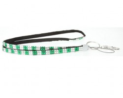 Checker Green Clear Crystal Lanyard for ID Tags or Eye Glasses