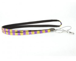Checker Purple Gold Crystal Lanyard for ID Tags or Eye Glasses