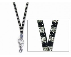 Checkered Jet and Clear Crystal Lanyard for ID Tags or Eye Glasses