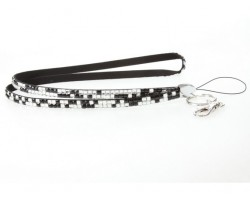 Leopard Clear Jet Crystal Lanyard For ID Tags Or Eyeglasses
