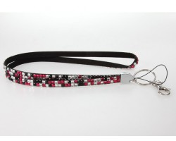Leopard Clear And Hot Pink Crystal Lanyard For ID Tags Or Eyeglasses