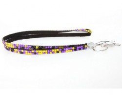 Leopard Purple And Gold Crystal Lanyard For ID Tags Or Eyeglasses