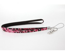 Leopard Pink And Hot Pink Crystal Lanyard For ID Tags Or Eyeglasses