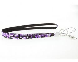 Leopard Purple Crystal Lanyard  ID Tags  Eyeglasses