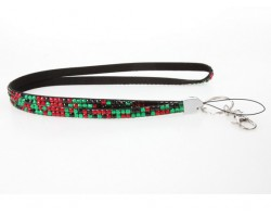 Leopard Red And Green Crystal Lanyard For ID Tags Or Eyeglasses