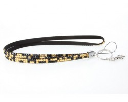 Leopard Light Topaz And Jet Crystal Lanyard For ID Tags Or Eyeglasses