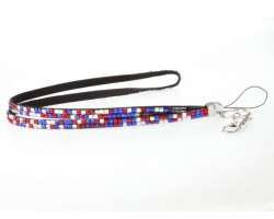 Leopard USA Colors Crystal Lanyard For ID Tags Or Eyeglasses