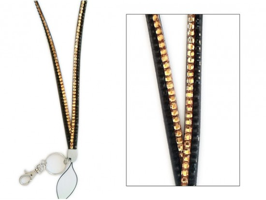Black & Gold Crystal Lanyard For ID Tags or Eye Glasses
