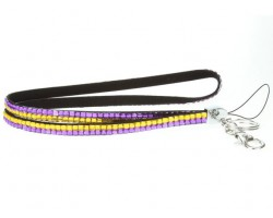 Purple And Gold Crystal Lanyard For ID Tags Or Eye Glasses