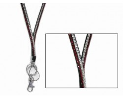 Red And Clear Crystal Lanyard For ID Tags Or Eye Glasses