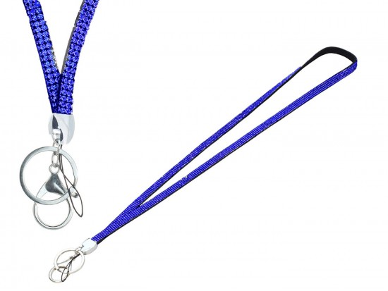 Blue Sapphire Crystal Lanyard For ID Tags or Eye Glasses