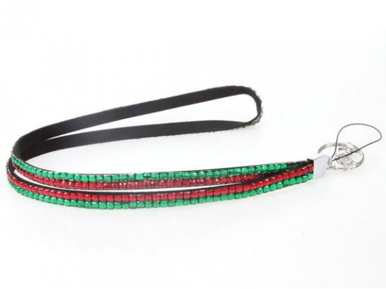 Red And Green Xmas Crystal Lanyard For ID Tags or Eyeglasses