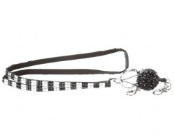 Checkered Black Clear Crystal Pull Lanyard Breakaway ID Tags