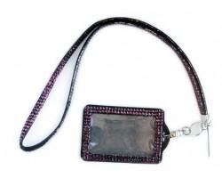 Amethyst Crystal Lanyard ID Badge Pouch