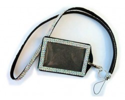 Clear AB Crystal Lanyard ID Badge Pouch