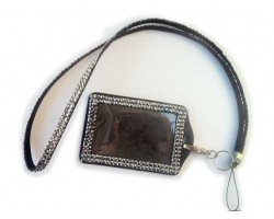 Hematite Crystal Lanyard ID Badge Pouch