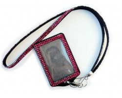 Hot Pink Crystal Lanyard ID Badge Pouch