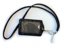 Jet Crystal Lanyard ID Badge Pouch