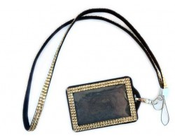 Light Colorado Topaz Crystal Lanyard ID Badge Pouch