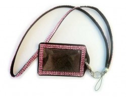 Light Rose Crystal Lanyard ID Badge Pouch