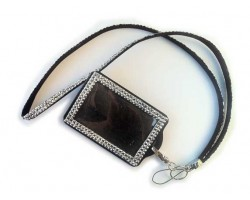 Metallic Crystal Lanyard ID Badge Pouch