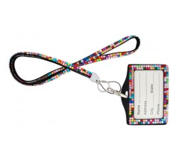 Multi Scattered Crystal Lanyard ID Badge Pouch