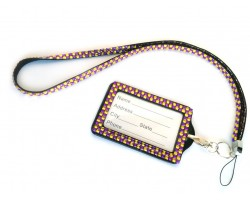 Purple and Golden LCT Crystal Lanyard ID Badge Pouch