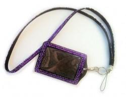 Tanzatite Crystal Lanyard ID Badge Pouch