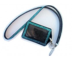 Blue Zircon Crystal Lanyard ID Badge Pouch