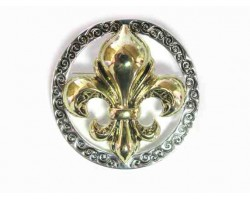 2-Tone Gold Silver Fleur De Lis Ring Brooch