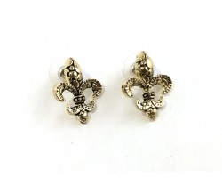 Gold Pebble Pattern Fleur De Lis Post Earrings