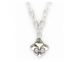 Silver Fleur De Lis Chain Necklace