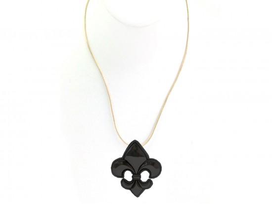 Black Fleur De Lis Gold Chain Necklace
