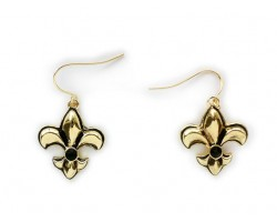 Gold Fleur De Lis Puffy Black Crystal Hook Earrings